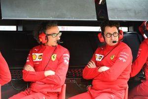 Laurent Mekies, Sporting Director, Ferrari, and Mattia Binotto, Team Principal Ferrari, on the pit wall