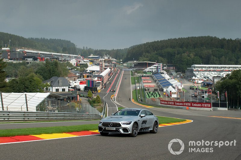 A Mercedes course car at Eau Rouge
