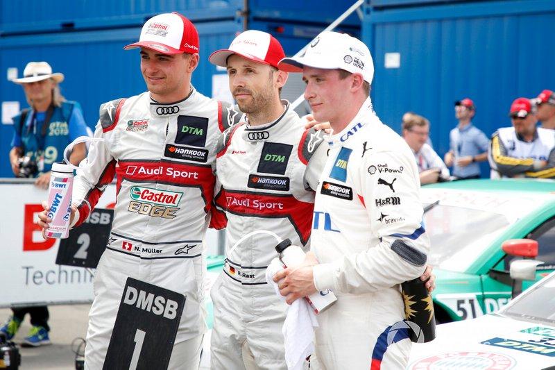 Ganador de la carrera René Rast, Audi Sport Team Rosberg, segundo lugar Nico Müller, Audi Sport Team Abt Sportsline, tercer lugar Joel Eriksson, BMW Team RBM