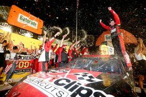 Race winner Erik Jones, Joe Gibbs Racing, Toyota Camry