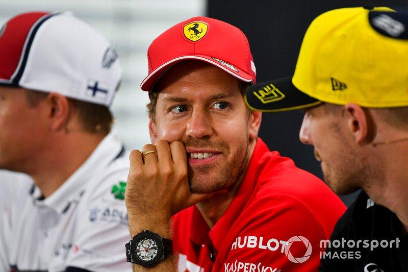 Sebastian Vettel, Ferrari e Nico Hulkenberg, Renault F1 Team, Ferrari, durante la conferenza stampa
