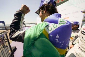 Race winner Sérgio Jimenez, Jaguar Brazil Racing celebrates on the podium