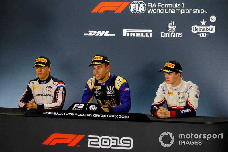 Nyck De Vries, ART Grand Prix, Luca Ghiotto, UNI Virtuosi Racing and Callum Ilott, Sauber Junior Team by Charouz