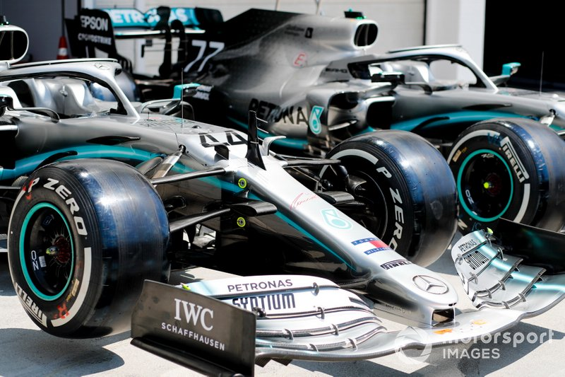 Cars of Lewis Hamilton, Mercedes AMG F1 W10 and Valtteri Bottas, Mercedes AMG W10