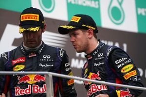Sebastian Vettel, Red Bull Racing e Mark Webber, Red Bull Racing, al GP della Malesia del 2013