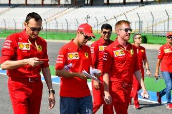 Sebastian Vettel, Ferrari walks the track with his mechanics