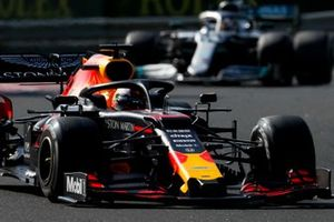 Max Verstappen, Red Bull Racing RB15, leads Lewis Hamilton, Mercedes AMG F1 W10