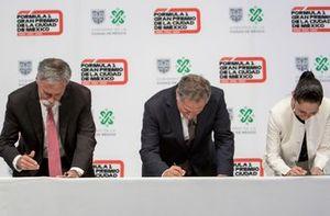Chase Carey, Presidente de Fórmula Uno, Alejandro Soberón Presidente CIE y Claudia Sheinbaum Jefa de Gobierno de CDMX