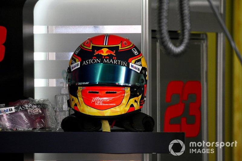 The helmet of Alex Albon, Red Bull Racing