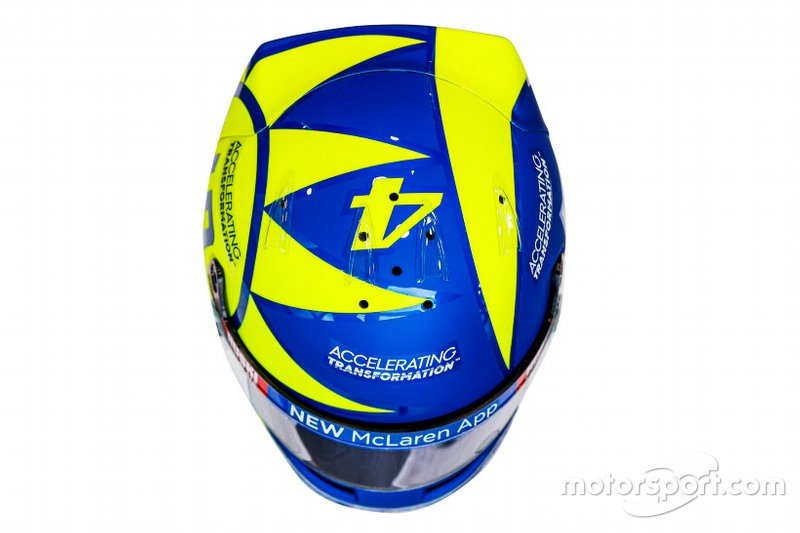 Helmet of Lando Norris, McLaren with the colors of Valentino Rossi