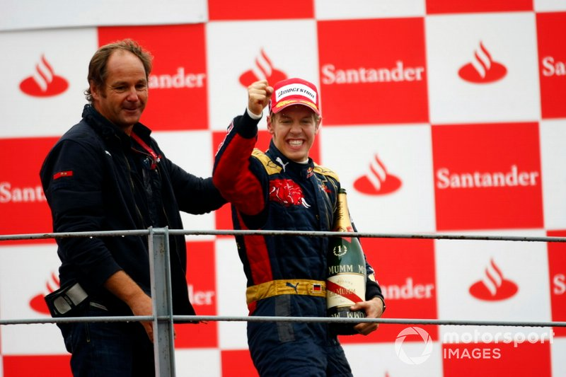 Podium: Gerhard Berger, Team Co-owner, Scuderia Toro Rosso, and Sebastian Vettel, Toro Rosso