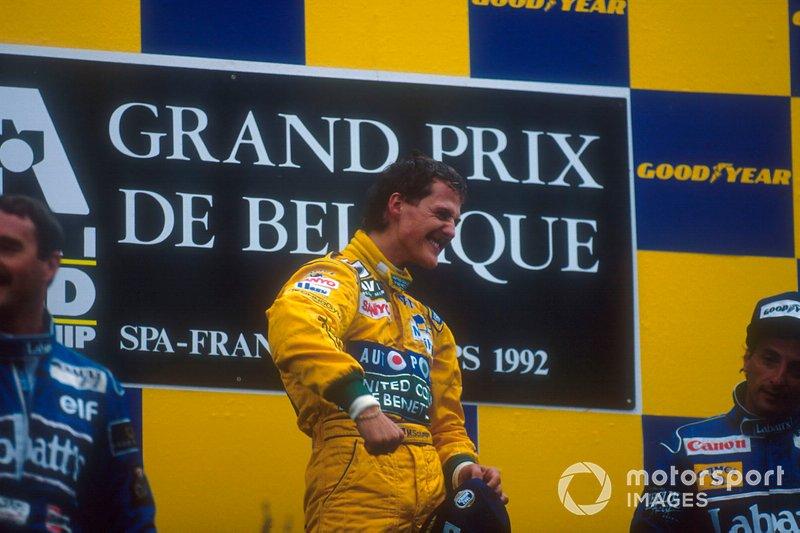 Podio: Ganador de la carrera Michael Schumacher, Benetton Ford