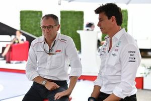Stefano Domenicali, CEO, Formula 1, with Toto Wolff, Team Principal and CEO, Mercedes AMG