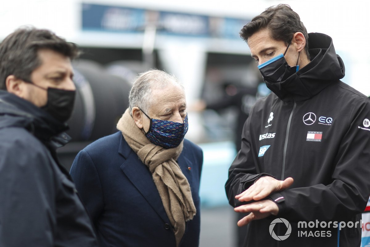 Jean Todt, presidente de la FIA, con Ian James, Team Principal, Mercedes Benz EQ