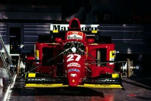 Jean Alesi's Ferrari 412T2 in the garage