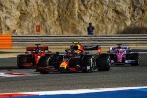 Alex Albon, Red Bull Racing RB16, Sebastian Vettel, Ferrari SF1000, and Sergio Perez, Racing Point RP20