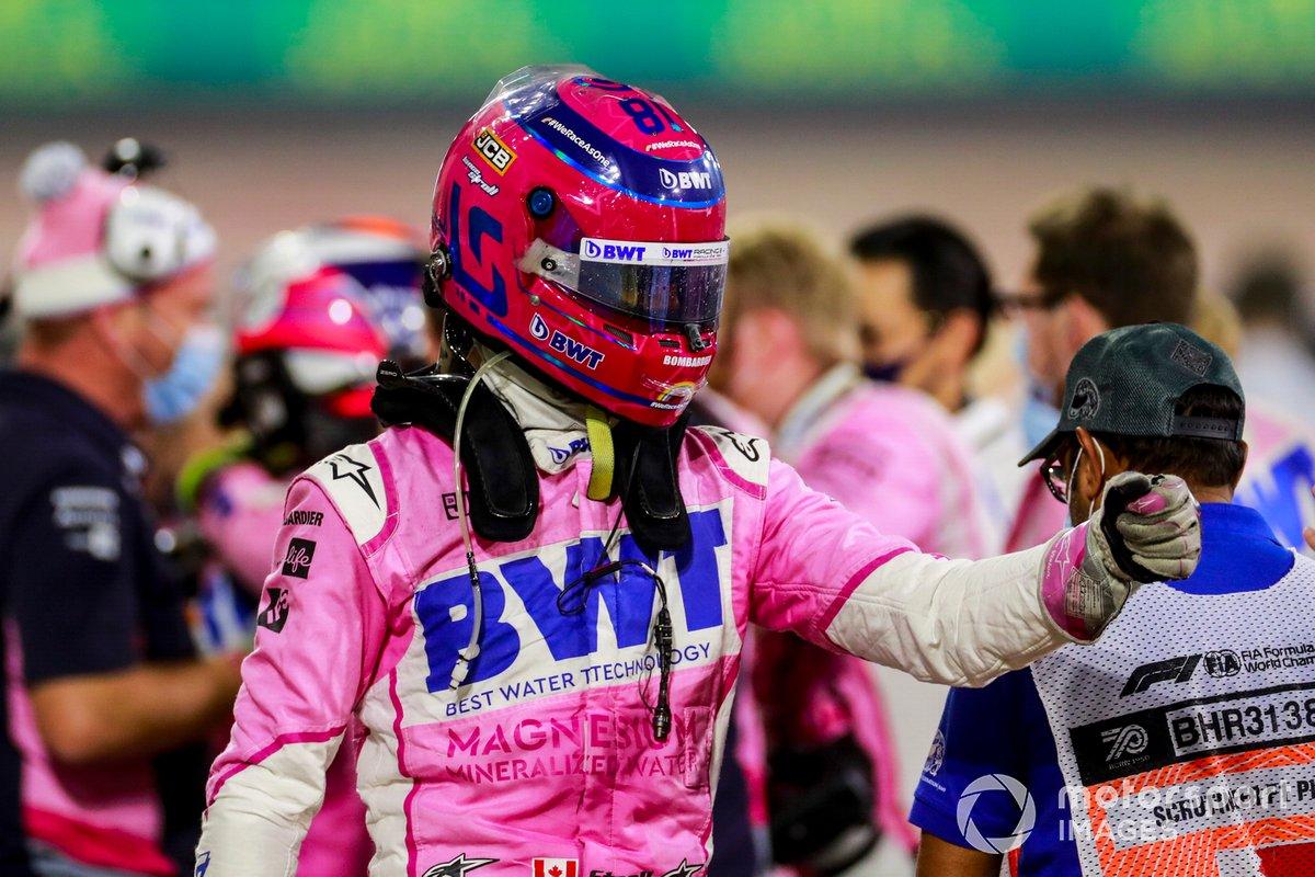 Lance Stroll, Racing Point, festeggia il terzo posto nel Parco Chiuso