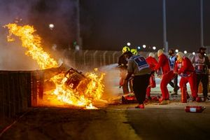 Romain Grosjean, Haas VF-20, on fire