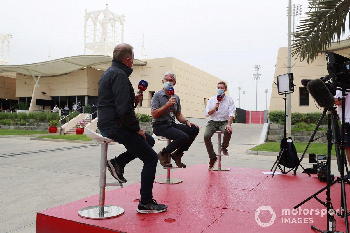 Martin Brundle, Sky TV, Damon Hill, Sky TV, y Simon Lazenby, Sky TV