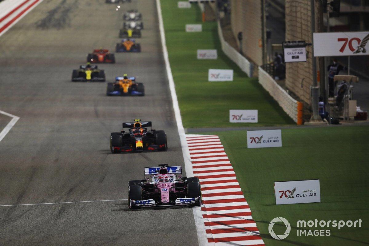 Sergio Pérez, Racing Point RP20, Alex Albon, Red Bull Racing RB16, Lando Norris, McLaren MCL35