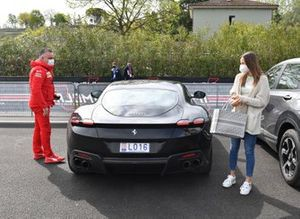 Charlotte Sine, girlfriend of Charles Leclerc, arrives at the circuit with Fabrizio Bortolamasi, Ferrari