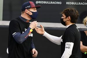 Max Verstappen, Red Bull Racing, talks with Pietro Fittipaldi, Haas F1, on the grid