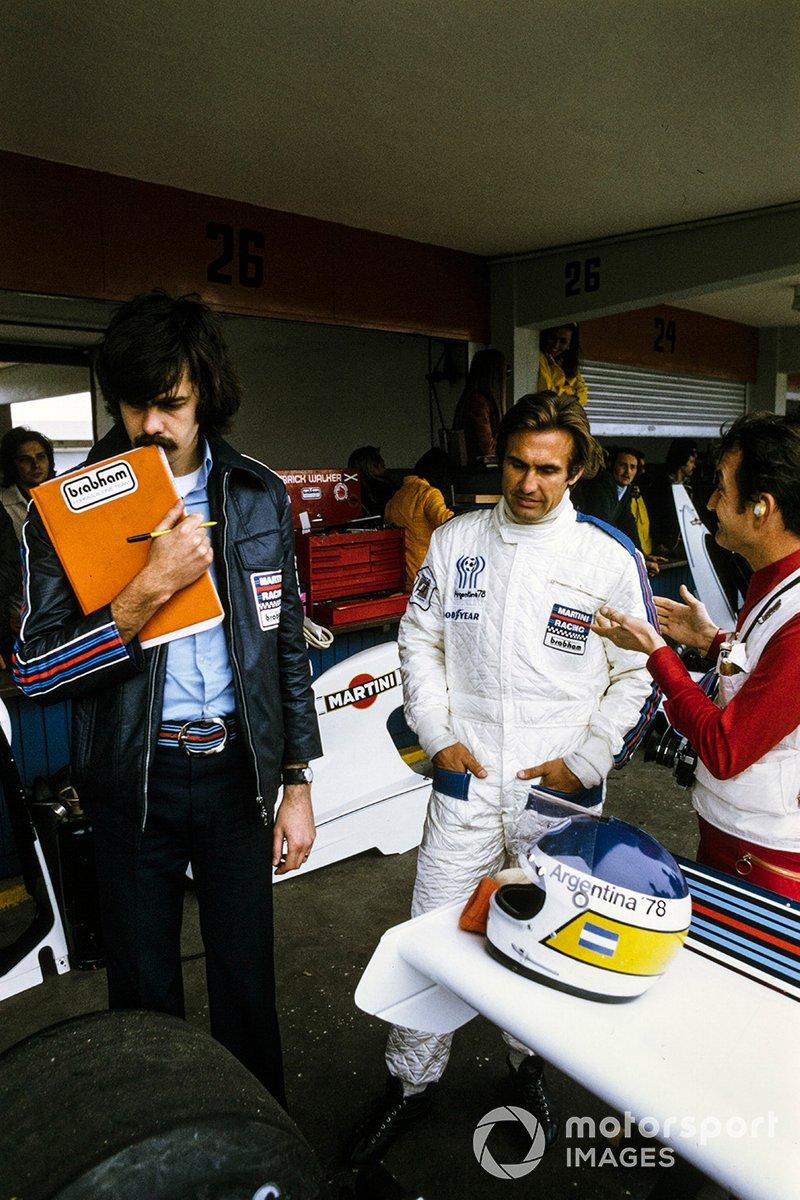 Carlos Reutemann y el diseñador de Brabham Gordon Murray
