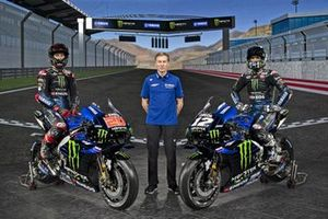 Maverick Vinales, Yamaha Factory Racing, Fabio Quartararo, Yamaha Factory Racing, Lin Jarvis. Yamaha Motor Racing managing director