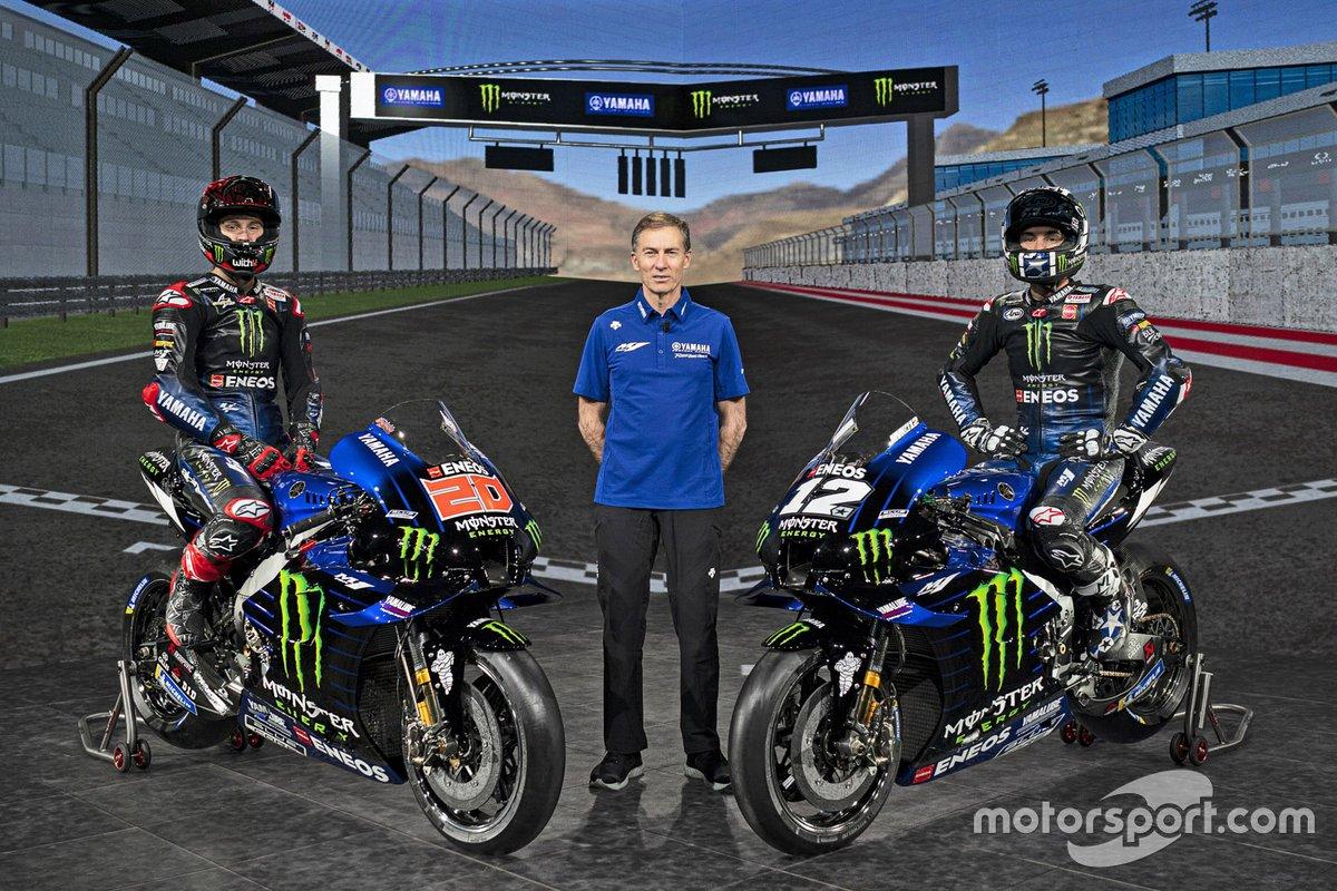 Maverick Vinales, Yamaha Factory Racing, Fabio Quartararo, Yamaha Factory Racing, Lin Jarvis. Yamaha Motor Racing managing director
