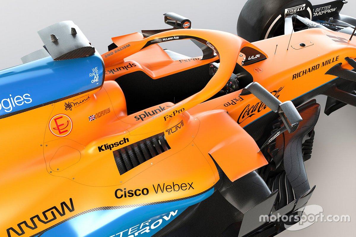 Detalle del cockpit del McLaren MCL35M
