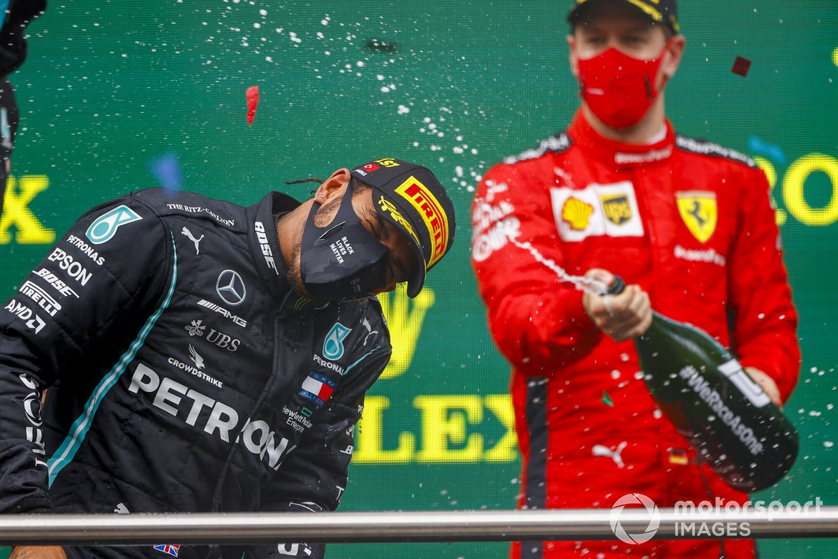 Lewis Hamilton, Mercedes-AMG F1, 1st position, celebrates with Champagne on the podium