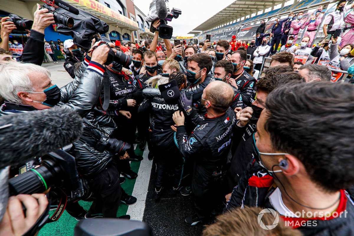 Lewis Hamilton, Mercedes-AMG F1, 1st position, and the Mercedes team celebrate in Parc Ferme after securing a seventh world drivers championship title