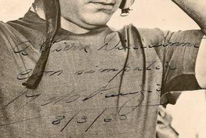 Pierre Dieudonné, signed photo of Juan Manuel Fangio