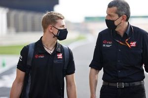 Mick Schumacher and Guenther Steiner, Team Principal, Haas F1 on the day Mick is announced as a Haas F1 driver