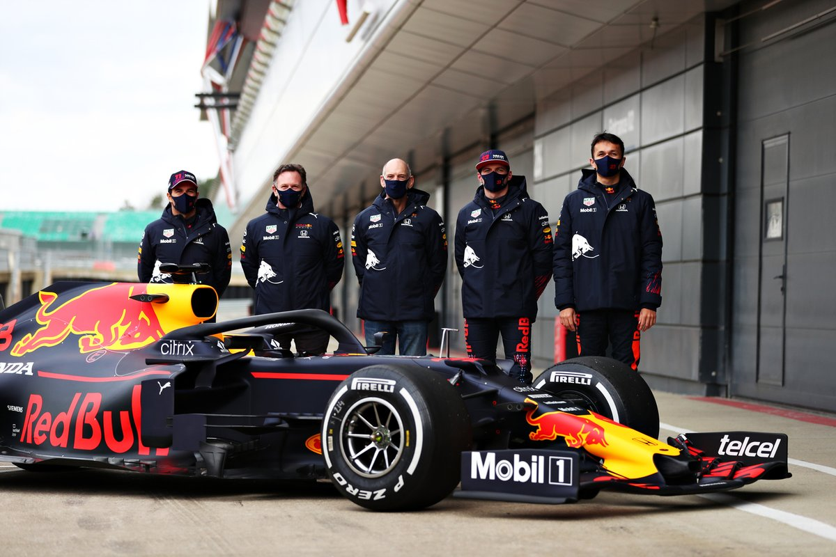 Sergio Perez, Red Bull Racing, Red Bull Racing Team Principal Christian Horner, Adrian Newey, the Chief Technical Officer of Red Bull Racing, Max Verstappen, Red Bull Racing, Alexander Albon, Red Bull Racing