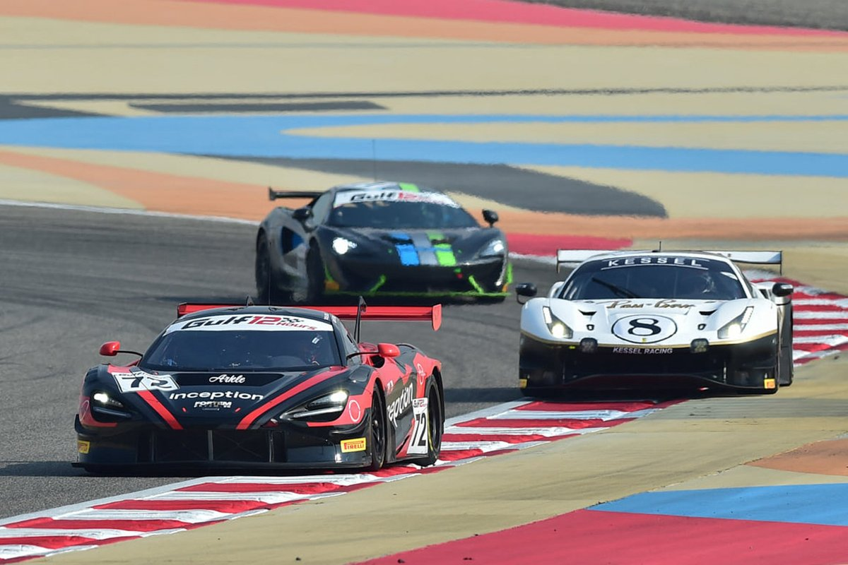 #72 Inception Racing with Optimum, McLaren 720S GT3: Brendan Iribe, Ollie Millroy, Nick Moss, Joe Osborne, #8 Kessel Racing, Ferrari 488 GT3: Alessandro Cutrera, Leonardo Maria Del Vecchio, Marco Frezza, Nicola Cadei