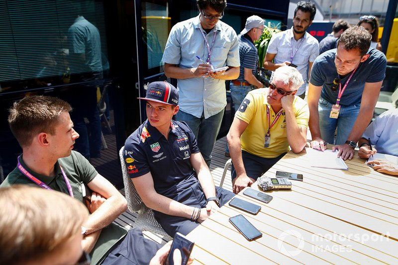Max Verstappen, Red Bull Racing speaks with the media