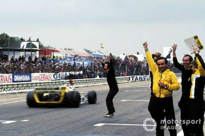 The Renault team including Jean Sage, Renault Team Chief, celebrate Jean Pierre Jabouille's first win and their first Grand Prix victory