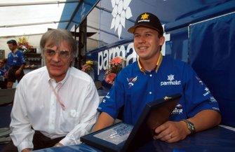 Bernie Ecclestone, F1 Supremo presents Olivier Panis an award for winning the Monaco GP