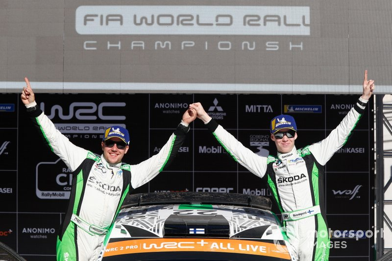 Ganadores del WRC2, Kalle Rovanperä, Jonne Halttunen, Skoda Motorsport Skoda Fabia R5