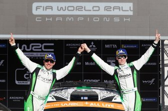 Winner WRC2, Kalle Rovanperä, Jonne Halttunen, Skoda Motorsport Skoda Fabia R5