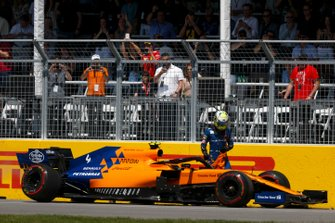 Lando Norris, McLaren, abandons his car and retires from the race