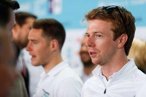 Oliver Turvey, NIO Formula E Team, talks to the press