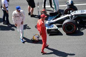 Pole man Valtteri Bottas, Mercedes AMG F1, and Sebastian Vettel, Ferrari, after Qualifying