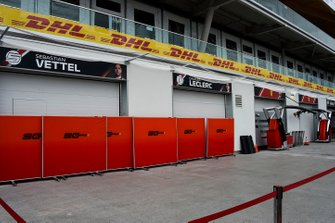 The Ferrari team's garages in the pit lane