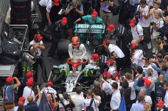 Lewis Hamilton, Mercedes AMG F1, 1st position, arrives in Parc Ferme