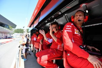 Mattia Binotto, Team Principal Ferrari, celebrates pole for Charles Leclerc, Ferrari SF90
