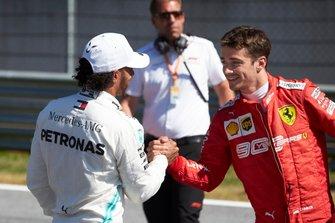 Lewis Hamilton, Mercedes AMG F1, congratulates Pole sitter Charles Leclerc, Ferrari