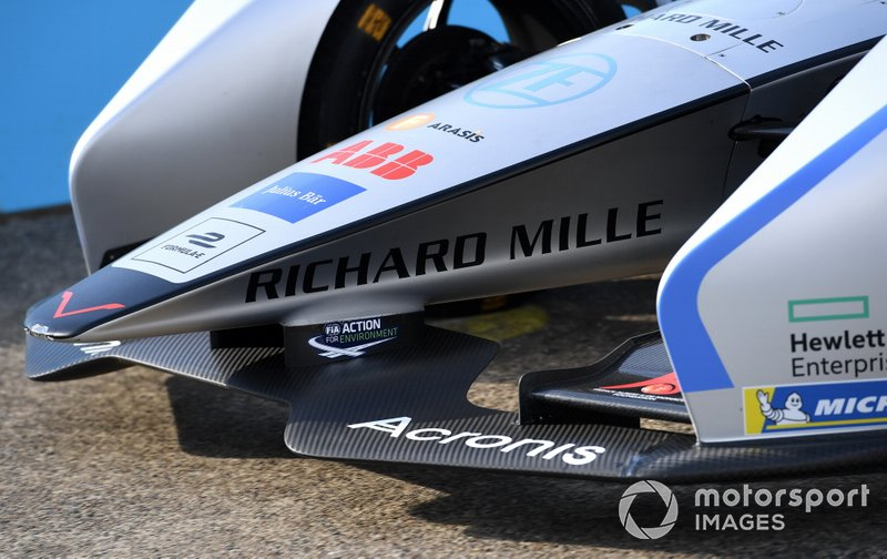 La nariz, alerón delantero de un Venturi Formula E Venturi VFE05