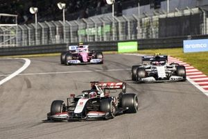 Romain Grosjean, Haas VF-20, Pierre Gasly, AlphaTauri AT01 and Nico Hulkenberg, Racing Point RP20